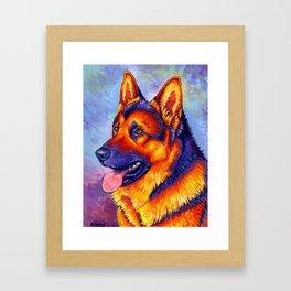 Colorful German Shepherd Dog Framed Art Print