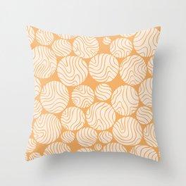 Cotton Ball Flower Pattern Jolly Orange Color Design Throw Pillow