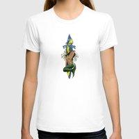 surfboard T-shirts featuring MerMarilyn Mermaid with Surfboard Hawaiian Design   by Drive Industries