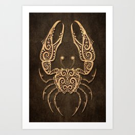 Vintage Rustic Cancer Zodiac Sign Art Print