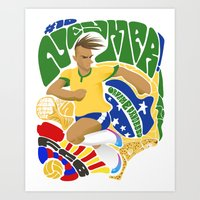 neymar Art Prints featuring Neymar by Simon Estrada