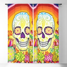 Sugar Skull Rainbow Cactus and Succulents - Colorful Art by Thaneeya McArdle Blackout Curtain