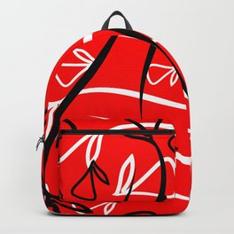 Geometric pattern of plant white and black elements on a red background. Backpack