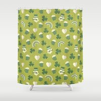 ale giorgini Shower Curtains featuring TOP O' THE MORNIN' by Daisy Beatrice