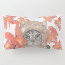 Scuba Cat Among the Fishes Pillow Sham