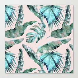 Tropical Palm Leaves Turquoise Green Coral Pink Canvas Print