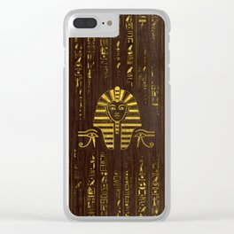 Golden Egyptian Sphinx and hieroglyphics on wood Clear iPhone Case