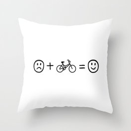 Cycling Makes You Happy Throw Pillow