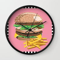 burger Wall Clocks featuring Burger by Kozza