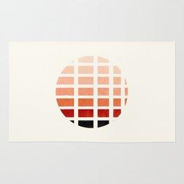 Watercolor Burnt Sienna Minimalist Mid Century Modern Square Matrix Geometric Pattern Round Circle Rug
