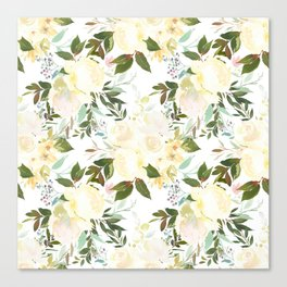 Modern yellow ivory green hand painted roses floral Canvas Print