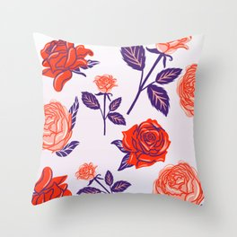 Vintage Pop Roses Throw Pillow