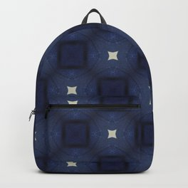Blue and White Square Pattern Backpack