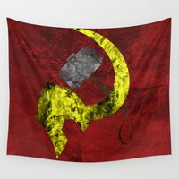 "loki Wall Tapestries featuring Thor and Loki ""Hammer & Sickle"" by Some_Designs"