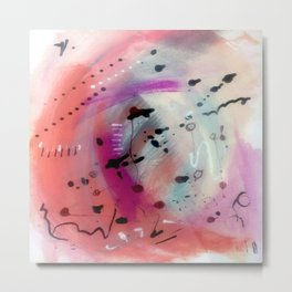 Alex - a bright acrylic and ink abstract pattern in pinks, blues, and purple Metal Print