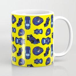 Blue Motor Racing Sports Cars on Yellow Coffee Mug