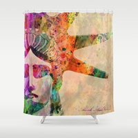 new york Shower Curtains featuring New York  New York by mark ashkenazi