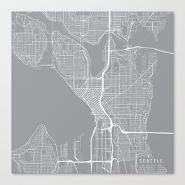 Seattle Map, Washington USA - Pewter Canvas Print