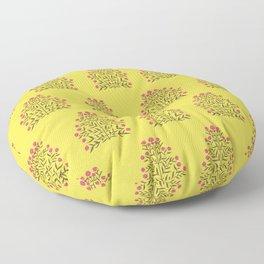 Indian Floral Motif Pattern - Pink & Illuminating Yellow Floor Pillow