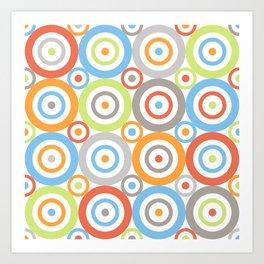 Abstract Circles Pattern Color Mix & Greys Art Print