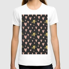 Rose Gold Hearts with Yellow Gold Hearts on Black T-shirt