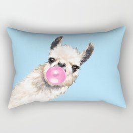 Bubble Gum Sneaky Llama in Blue Rectangular Pillow