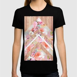 Vintage floral watercolor rustic brown wood geometric triangles T-shirt