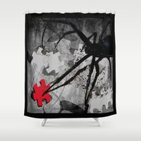 dwight Shower Curtains featuring Along Came A Spider by Shawn