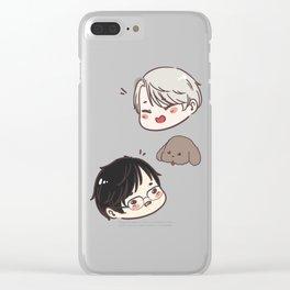 [ yuri on ice ] victor + makkachin + yuri Clear iPhone Case