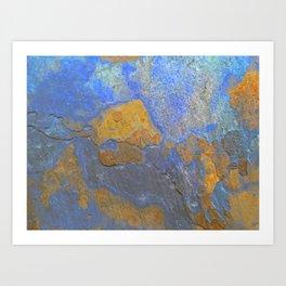 Blue and Orange Marble Pattern Art Print