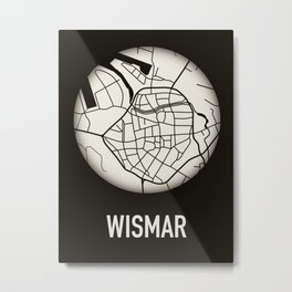Wismar Karte Rund 3D Metal Print