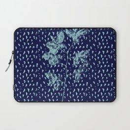Navy and aqua blue faux glitter raindrops and foliage Laptop Sleeve