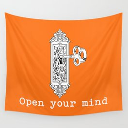 "Vintage inspired door key knob "" Open your mind"" Wall Tapestry"