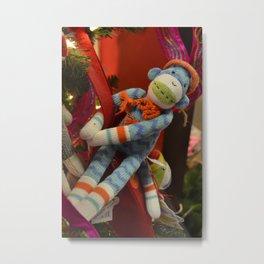 Blue Sock Monkey Metal Print