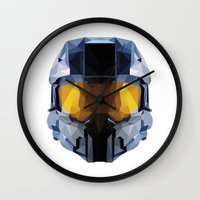 master chief Wall Clocks featuring Geometric Master Chief - Halo  by Something a Little Awesome