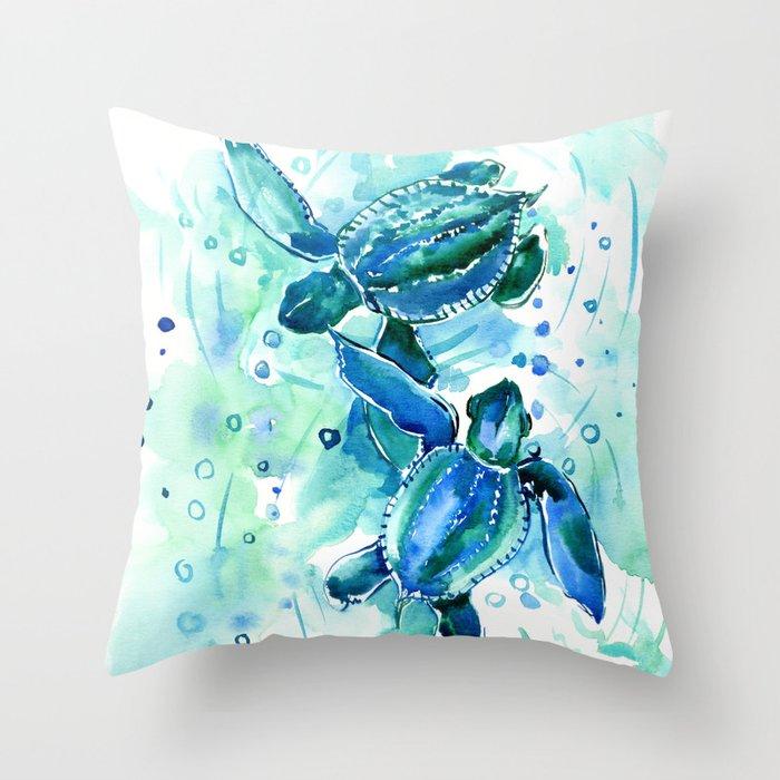 Turquoise Blue Sea Turtles in Ocean Throw Pillow