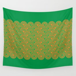 op art pattern retro circles in green and orange Wall Tapestry