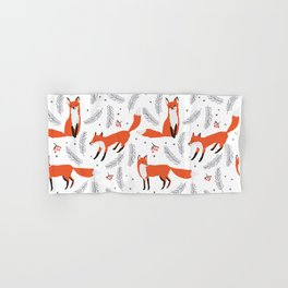 Red foxes and berries in the winter forest Hand & Bath Towel