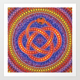 Red Celtic Snake Art Print