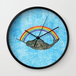 Narwhale Rainbow Blue Ocean Waves Wall Clock