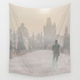 Prague in the morning fog Wall Tapestry