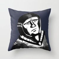 spaceman Throw Pillows featuring SpaceMan by Juicebox Farley