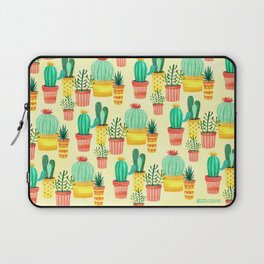 Hello! Colorful Watercolor Cactus and Succulent in Patterned Planters Laptop Sleeve