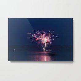 Fireworks Over Lake 19 Metal Print
