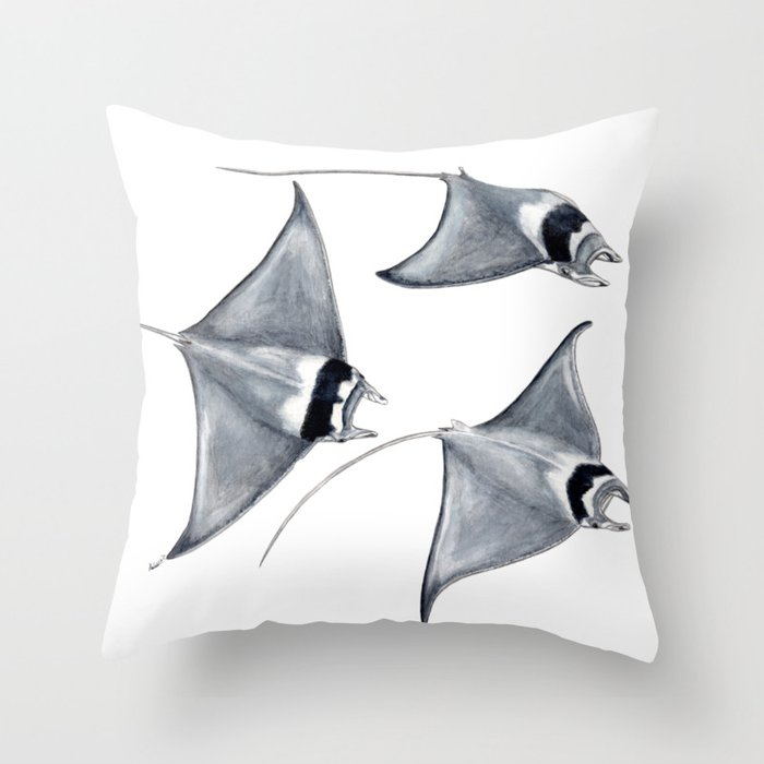 Devil fish Manta ray Mobula mobular Throw Pillow