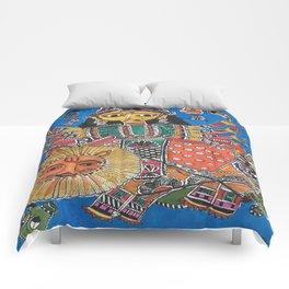 Madhubani - Blue Durga Comforters