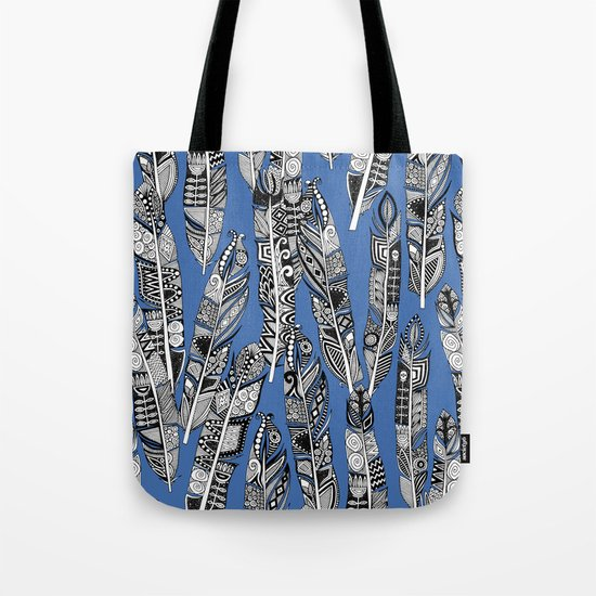 geo feathers blue Tote Bag