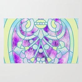 Art Nouveau Aqua and Purple Batik Design Rug