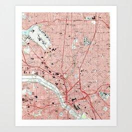 Dallas Texas Map (1995) Art Print