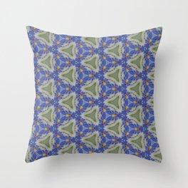 Blue Stitchery Throw Pillow